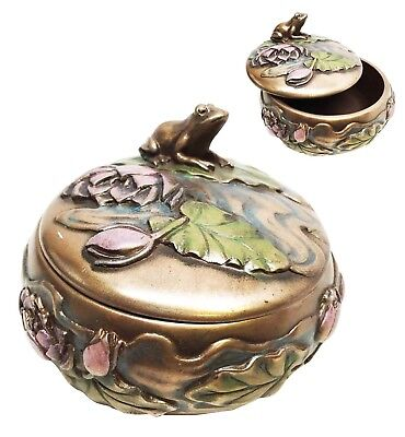 "Summit Decor Toad Frog Sitting on Lily Petal Trinket Round Jewelry Box 3.75""Dia."