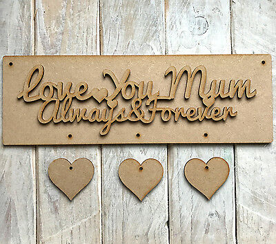 30cm x 10cm MDF Wooden MOTHERS DAY PLAQUE with hanging HEARTS LOVE YOU MUM