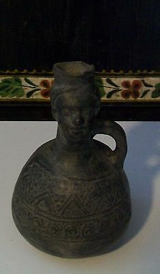 Rare Pre-Columbian Ancient Pottery Face Vessel Vase Peru Chimu Inca Maya