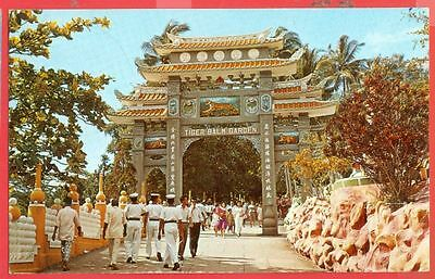 Singapore 20c Fish Pair used HAW PAR VILLA / TIGER BALM GARDEN Post card to USA