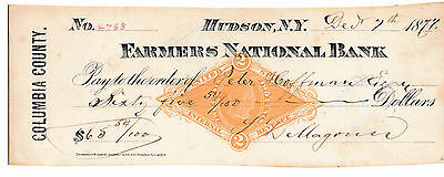 Antique Check  1877   Farmers National Bank Hudson, New York  Revenue Stamp