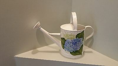 Metal Hand Painted Watering Can with Hydrangea Print