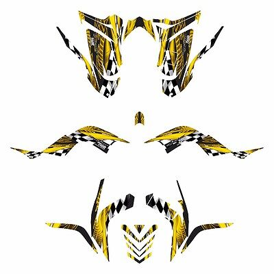 2006 - 2012 graphics for Yamaha Raptor 700 full coverage decal kit #3500 yellow