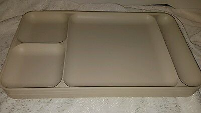 Vintage White Tupperware Compartment Tray Lunch Tray Lot of 4