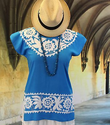 Wedgwood Blue & White Hand Embroidered Huipil Mexican Blouse Jalapa Boho Hippie