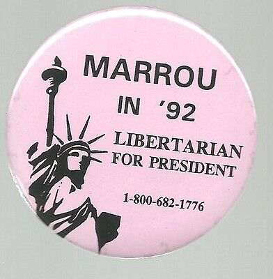 Andre Marrou In 1972 Bright Pink Libertarian Party Political Pin