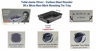 Tefal Jamie Oliver - Carbon Steel Roaster 26 x 38cm Non-Stick Roasting Tin Tray