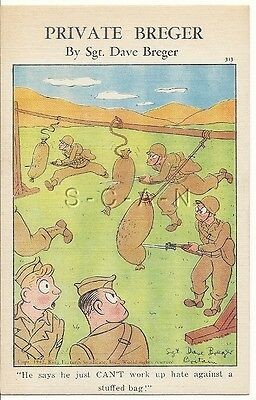 WWII Original 1940s PC- Private Breger- Knife Drill- Not Hate for Bag- Comic
