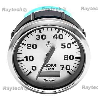 Faria Tch022A Tachometer Gauge Silver Bezel With Hour Meter Black On Silver