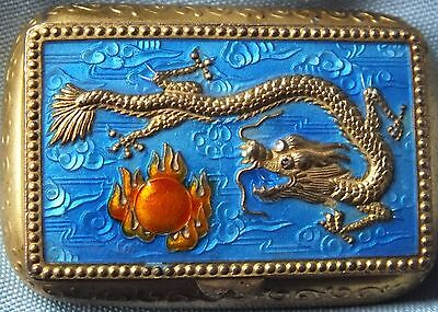 Chinese Gold & Repousse Enamel Dragon & Pearl Opium Box Hallmarked/Signature