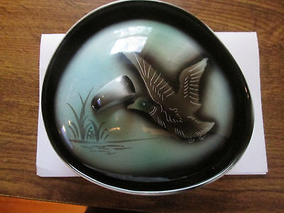 Japanese Oblong Shaped Covered Dish with Hand Painted Duck