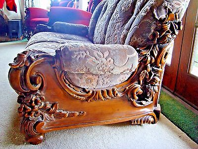ANTIQUE French Walnut Rococo style Heavy Carved ornate chair sofa Loveseat