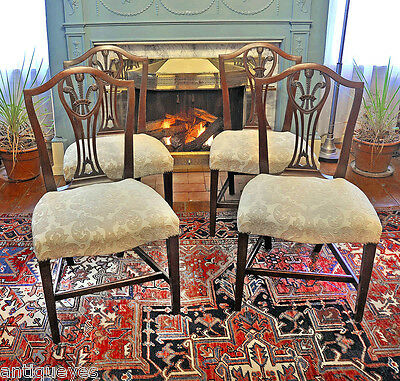 4 ANTIQUE Chippendale HEPPLEWHITE CHAIRS Shield Backs: George Shipley NYC C.1790
