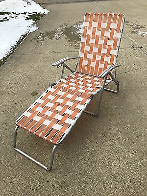 Vintage Patio Aluminum Webbed Folding Chaise Lounge Reclining Lawn Chair