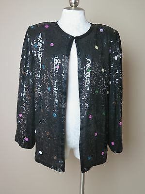 Scala Vintage Sequined and Beaded Jacket Black Polka Dots Sz L
