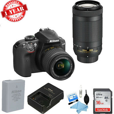 Nikon D3400 DSLR Camera with 18-55mm and 70-300mm Lenses w/ CK & 16GB MC