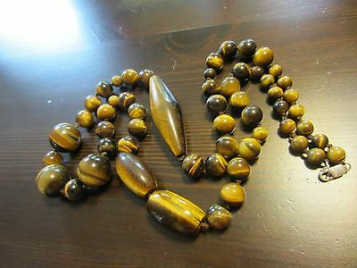 """ANTIQUE CHINESE?CARVED TIGER's EYE BEADED NECKLACE DESIGNER 925 SILVER CLASP 34"""""""