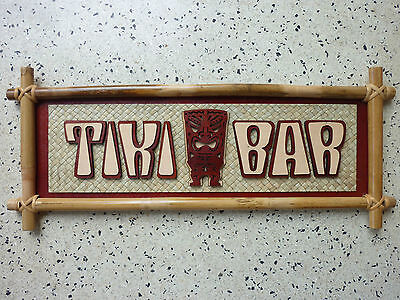 Tiki Bar Sign 50s Rockabilly Kustom Kulture Voodoo Hawaii Bamboo Wall Hanging
