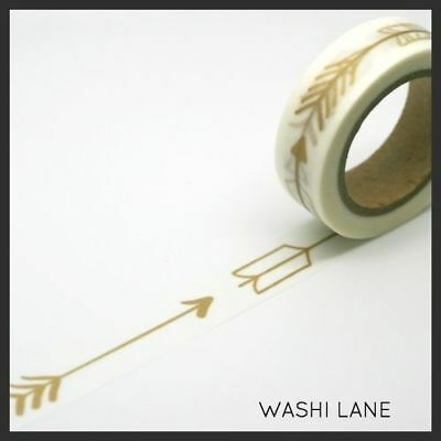 Washi Tape - Hunters Arrows Gold 15mm x 10m Metallic, Cupid Arrow,
