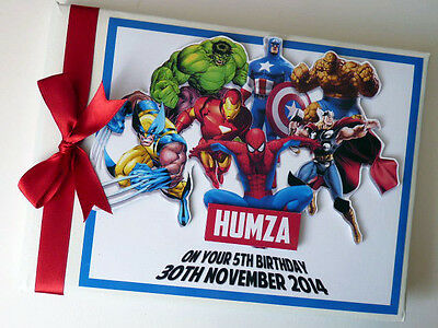 Personalised Marvel Heroes Boy/girl First/1St Birthday Guest Book Any Design