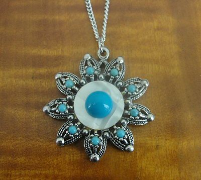 Vintage Faux Turquoise Beads with Mother of Pearl Silver Plate Pendant NECKLACE