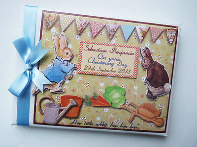 Personalised Peter Rabbit Christening/first/1St Birthday Guest Book Any Design
