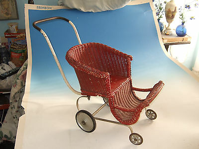 Vtg Antique Victorian Doll Wicker Baby Carriage original buggy