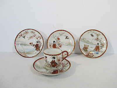 Antique Kutani Demitasse Cup Saucer Signed Japanese Hand Painted Geisha Set of 5
