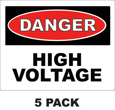 "DANGER - High Voltage Vinyl Decals / Stickers / Safety Label 2""x3""   ( 5 Pack )"