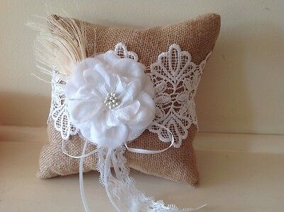 RUSTIC WEDDING RING PILLOW Burlap Cushion Country Hessian Party Lace Bearer 15cm