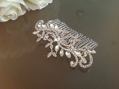 VINTAGE Style HAIR COMB Silver Accessory Crystal Bridal Wedding Girl Bridesmaid