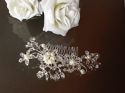 Stunning Wedding Vintage Style Bridal PEARL & CRYSTAL Hair Clip Comb Debutante