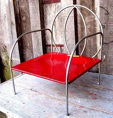 Vintage Mid Century Metal Kiddie Chair Gr8 As Home & Garden Plant Stand / Table