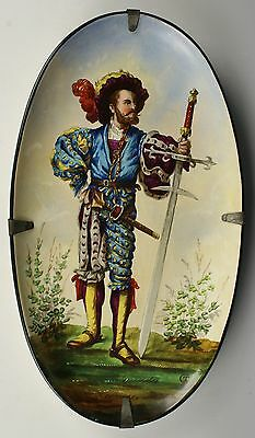 Antique 19C Hautin & Boulenger hand painted plate Soldier WorldWide