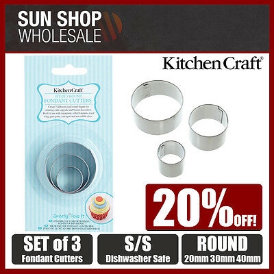 100% Genuine! KitchenCraft Set of 3 Stainless Steel Round Fondant Cutters!