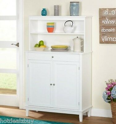 White Kitchen Hutch Buffet China Cabinet Storage Cupboard Pantry Drawers  Shelf