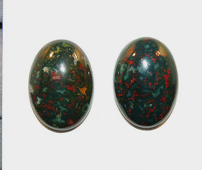 Bloodstone 13x18mm Cabochon with 5.5mm dome from India set of 2 (11750)