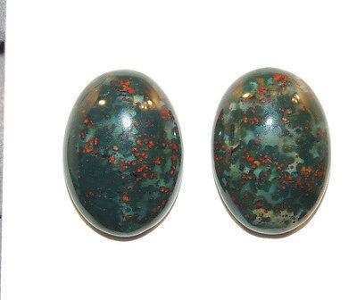 Bloodstone Cabochons 13x18mm with 5.5mm dome from India set of 2 (11752)
