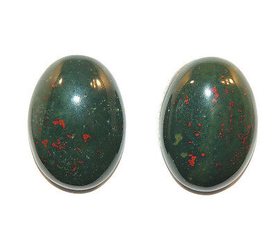 Bloodstone 13x18mm Cabochon with 5.5mm dome from India set of 2 (11756)