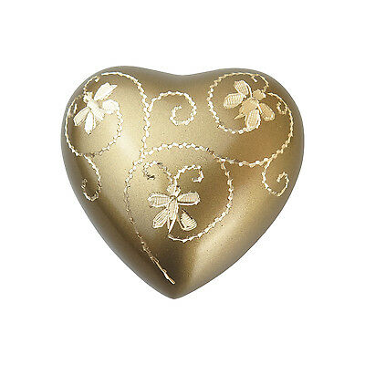 Golden Engraved Butterfly Heart Urn Keepsake for Ashes Cremation Cremains