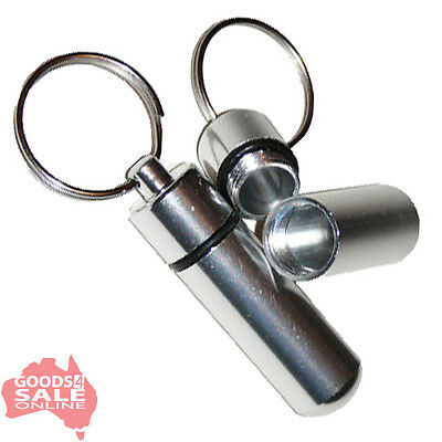 1x Medicine Tablet Storage Pill Box Case Container Waterproof Aluminum Keyring