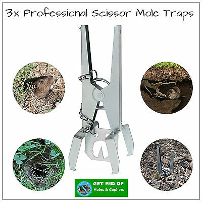 3x PROFESSIONAL GROUND SCISSOR MOLE CLAW TRAPS EXCELLENT MOLE PEST CONTROL TRAP