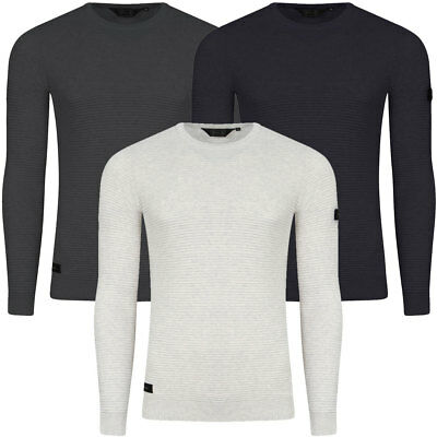 New Mens Dissident Ricardo Ribbed Textured Crew Neck Knit Jumper Top Size S-XXL