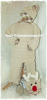 HONEYDROPDESIGNS * RUDDY * CHRISTMAS PAPER KNITTING PATTERN * 0-6 MONTHS Approx.