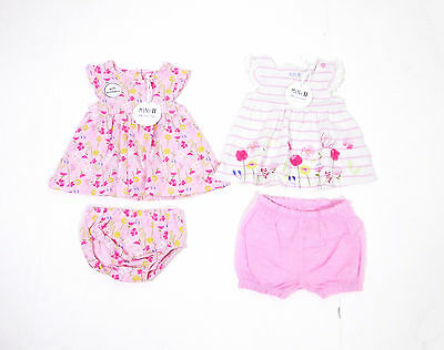 BHS Mini B Baby Girls Outfit Sets Floral Pink Dress Knickers Shorts NB - 9 Month