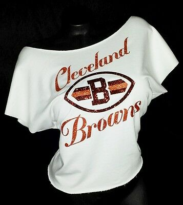 Cleveland Browns White Shrt Slv.Raw Edge Terry Dolman Top ~ Shiny Lettering