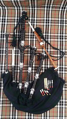 Great Highland Bagpipe Black Rosewood Silver Mounts/Scottish Bagpipes,Reed,Drone