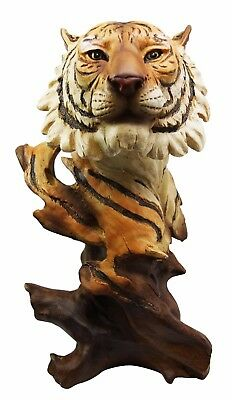 "QBI Large 11"" Tall Jungle Wild Cat Bengal Tiger Bust Desktop Decorative Figurine"