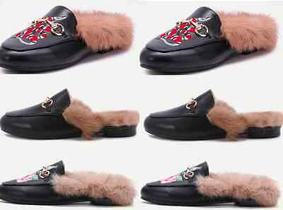New Princetown Horsebit Genuine Rabbit Fur Lined Embroidery Loafer Slipper Mule