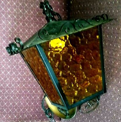 Vintage MCM Wrought Iron Amber Glass Ceiling Light Lamp Patio Inside Outside